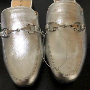 Shoes - Woman's silver slides size 8